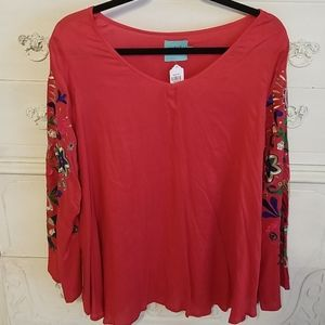 NWT Red embroidered festive tunic top